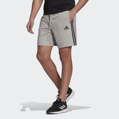 Men's sport_inspired Grey Essentials French Terry 3-Stripes Shorts