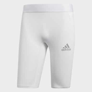 Men Football White Alphaskin Sport Short Tights