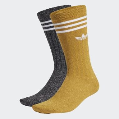 Women Originals Yellow Full Glitter Crew Socks 2 Pairs