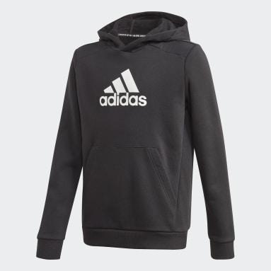 Sweat-shirt à capuche Logo Noir Garçons Fitness Et Training