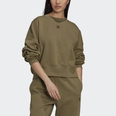 Women Originals Green Adicolor Essentials Fleece Sweatshirt