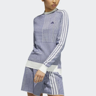 Women Golf Blue Recycled Polyester Crewneck Check Long Sleeve Sweater