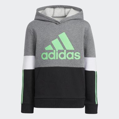 Sweat-shirt Biceps Colorblock 3-Stripes vert Adolescents Entraînement