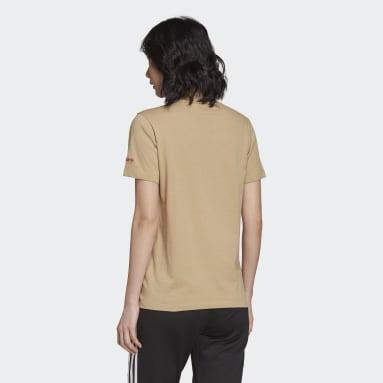Camiseta Adicolor Shattered Trefoil Beige Mujer Originals