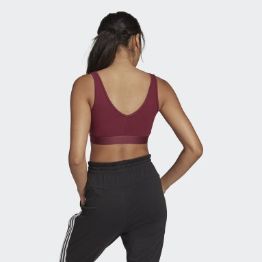 Women Sport Inspired Burgundy Essentials 3-Stripes Crop Top With Removable Pads