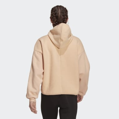 Women's Essentials Pink Essentials Golden Logo Sherpa Hoodie