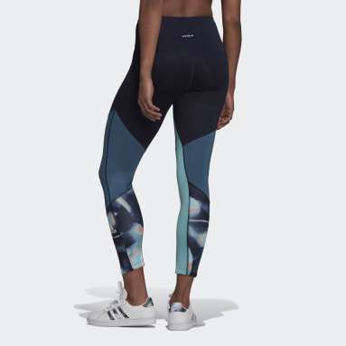 Dames HIIT Blauw FeelBrilliant AEROREADY You for You for You 7/8 Printed Sport Legging