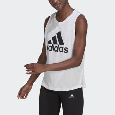 Women Sport Inspired White Essentials Big Logo Tank Top
