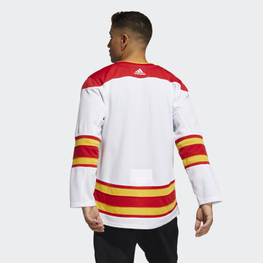 Men Hockey White Flames Away Authentic Pro Jersey