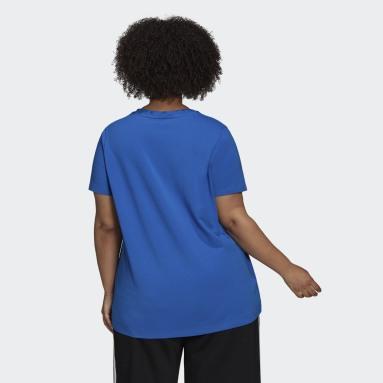 Women Originals Blue Adicolor Classics Trefoil T-Shirt (Plus Size)