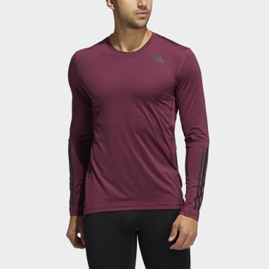 Men Gym & Training Burgundy Techfit 3-Stripes Fitted Long-Sleeve Top Long-Sleeve Top