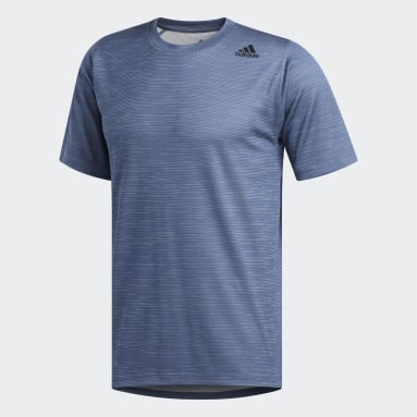 Remera FreeLift Tech Fitted Striped Heathered Azul Hombre Training