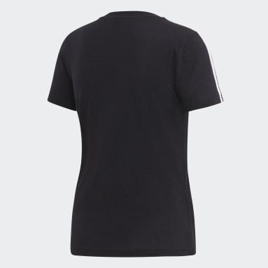 Camiseta Essentials 3-Stripes Preto Mulher Estilo Esportivo