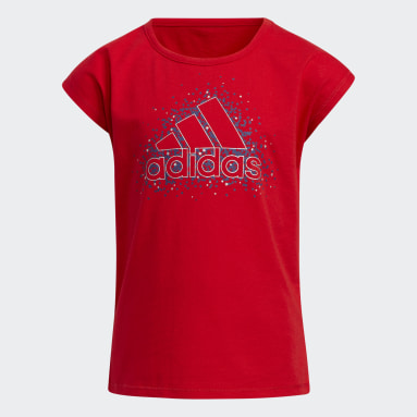Children Training Red Graphic Tee and Shorts Set