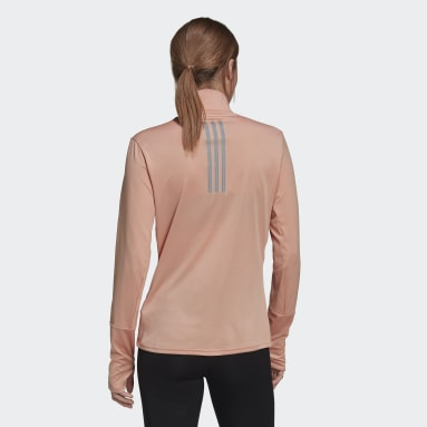 Women Running Pink adidas Own The Run 1/2 Zip Tee