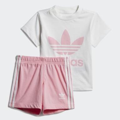 Conjunto Camiseta y Shorts Trifolio Blanco Niña Originals
