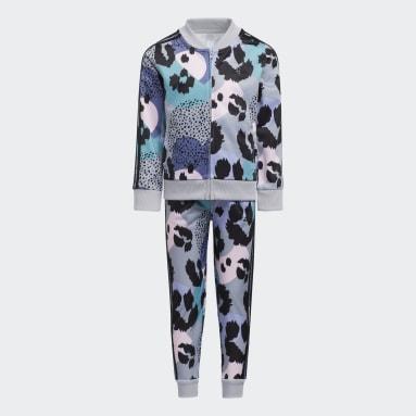 Children Training Grey Allover Print Track Suit