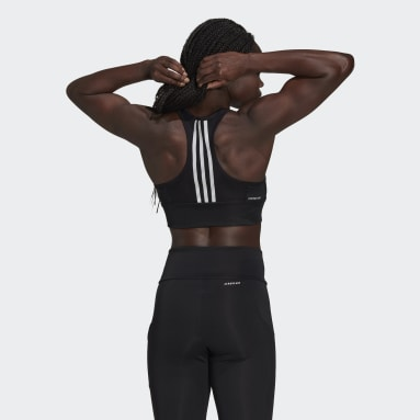 Top Cropped AEROREADY Designed to Move 3-Stripes Padded Sports Preto Mulher Training