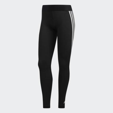Women Yoga Black Alphaskin 3-Stripes Long Tights