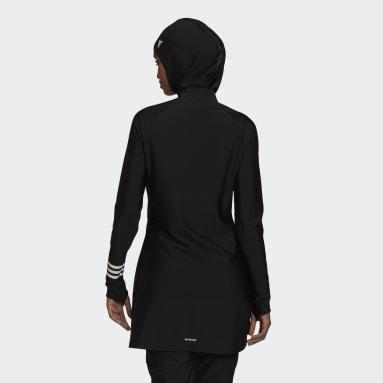 Haut de natation 3-Stripes Long Sleeve Noir Femmes Natation