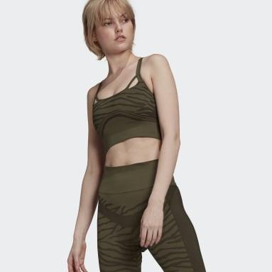 зеленый Бесшовный спортивный бра adidas by Stella McCartney Yoga Light