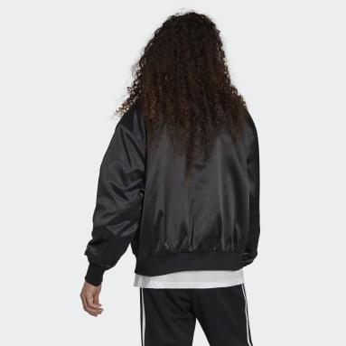 Men's Originals Black Adicolor Classics Satin Bomber Jacket