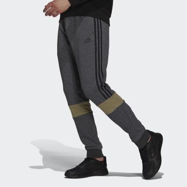 Essentials Fleece Colorblock Pants Szary