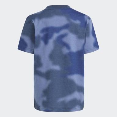 Boys Originals Blue Allover Print Camo Tee