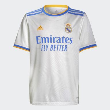 Camisola Principal 21/22 do Real Madrid Branco Criança Futebol