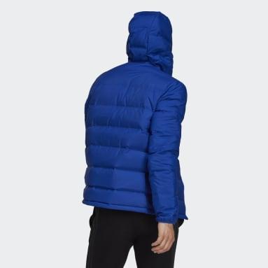 Mænd Overtøj Med Gadestil Blå Helionic Hooded dunjakke