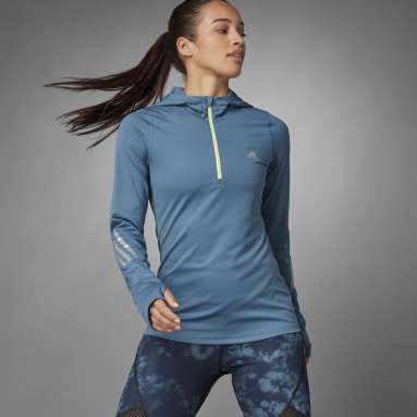 Women Running Blue Thermal Quarter-Zip Hoodie