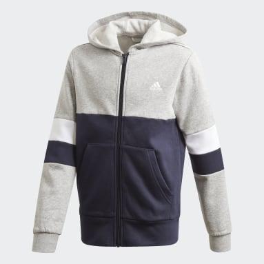 Boys Gym & Training Grey Linear Colorblock Full-Zip Hoodie