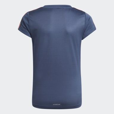 Camiseta Designed 2 Move 3 Rayas Azul Niña Training