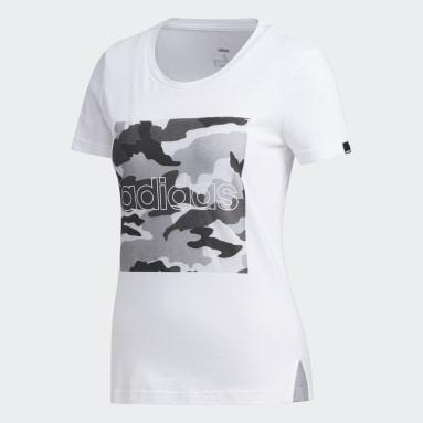 T-shirt Boxed Camo Graphic Blanc Femmes Sportswear