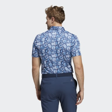 Men Golf Turquoise Cobblestone-Print Recycled Content Polo Shirt