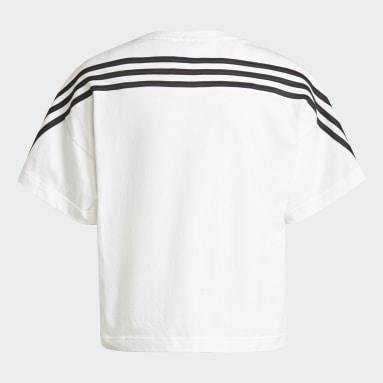 Camiseta Organic Cotton Future Icons Sport Loose 3 bandas Blanco Niña Gimnasio Y Entrenamiento