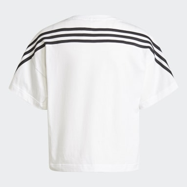 Youth 8-16 Years Gym & Training White Organic Cotton Future Icons Sport 3-Stripes Loose T-Shirt