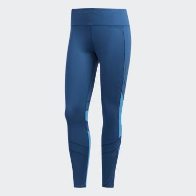 Mallas How We Do 7/8 - Corte Alto Azul Mujer Running