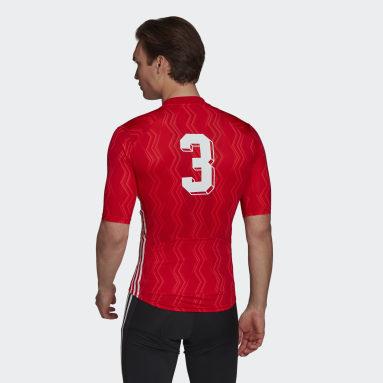 Maillot - Camiseta de Ciclismo Manga Corta Estampada Rojo Hombre Ciclismo