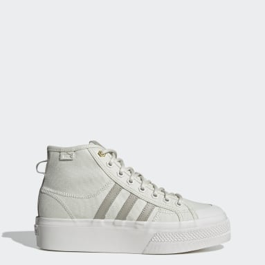 Women Originals Grey Nizza Platform Mid Shoes