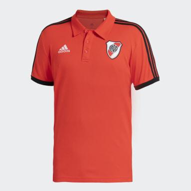 Camiseta Polo 3 Rayas River Plate Rojo Hombre Fútbol