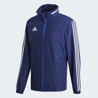 Men Gym & Training Blue Tiro 19 All-Weather Jacket