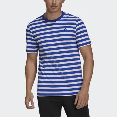 Men Sportswear Blue Essentials Stripey Embroidered Logo Tee