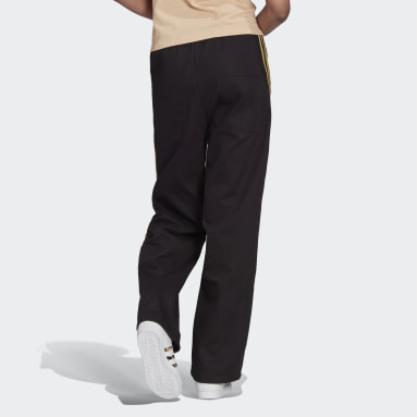 Women Originals Black Cuffed Pants with Golden Stripes and Drawcord Detail