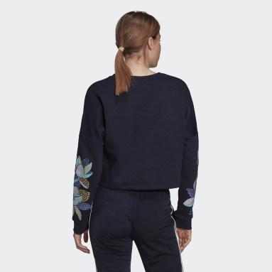Felpa adidas x FARM Rio Print Loose Cropped Fleece Logo Blu Donna Sportswear