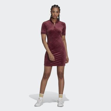 Women Originals Burgundy Short Sleeve Dress with High Collar in Velvet with Embossed adidas Originals Monogram