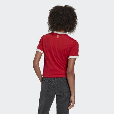 ผู้หญิง ฟุตบอล สีแดง เสื้อฟุตบอลชุดเหย้า Manchester United 21/22