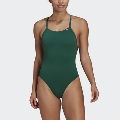 Women Swimming Green Sports Performance Solid Swimsuit