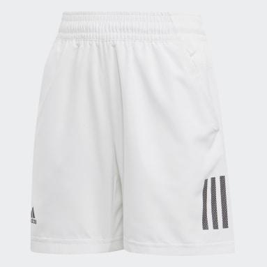 Boys Tennis White 3-Stripes Club Shorts
