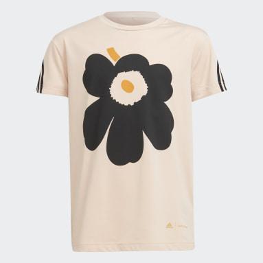 Camiseta Marimekko Primegreen AEROREADY Training Loose Floral Graphic 3 bandas Rosa Niña Gimnasio Y Entrenamiento